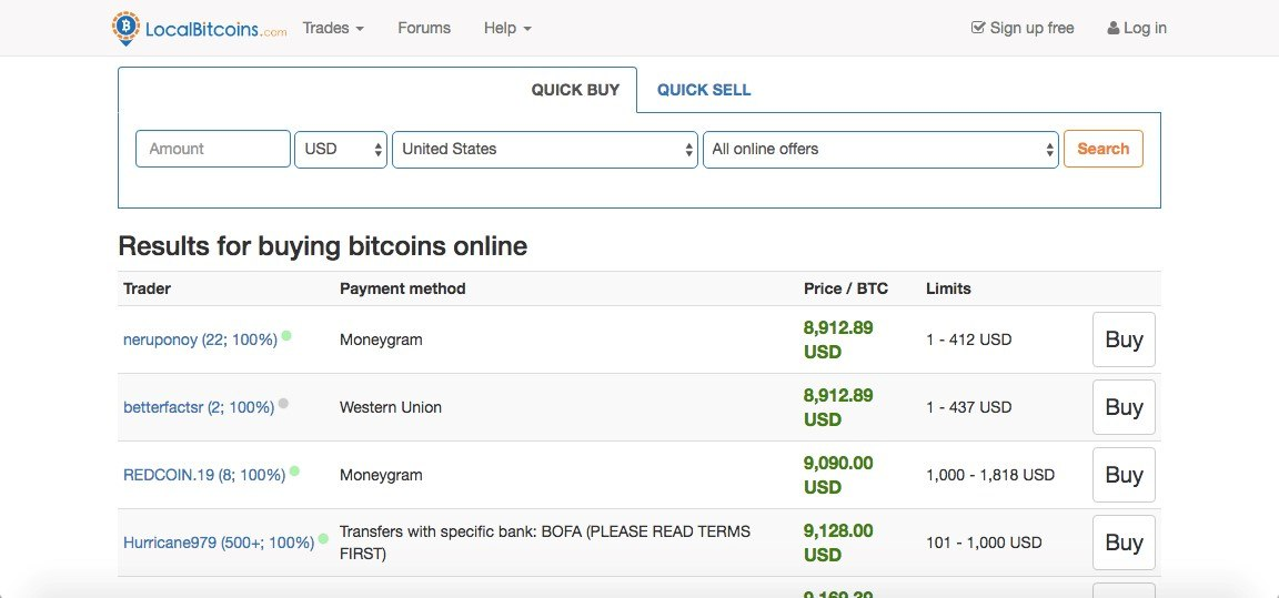 Purchasing BTC with LocalBicoins
